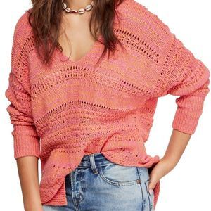 Free People Hot Tropics Pink V-Neck Sweater S
